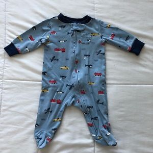 GUC Carter's Vehicles Zip Up Footed PJs